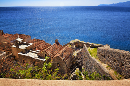 Monemvasia, the medieval castle town, is located in Laconia, Peloponnese, Greece, on a small island linked to the mainland by a short causeway. The town is a medieval fortress with Byzantine churches.
