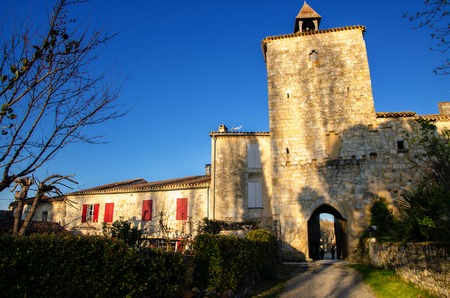 Fources is a round Bastide, and it is classified among the most beautiful villages of France, tourist destination in the Armagnac's production area and pretty medieval village with timbered houses 写真素材