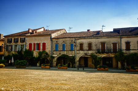 Labastide d'Armagnac is one of the most beautiful bastides in southwestern France. The village was founded in 1291 and the square is still surrounded by the same arcades with covered passages. Stock Photo