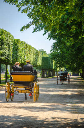 Competition of carriages in the gardens of the castle of Luneville, France