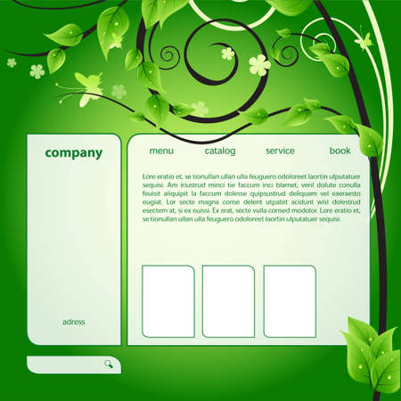 online logo: web green ecology Illustration