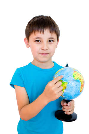 a boy and a Globe photo