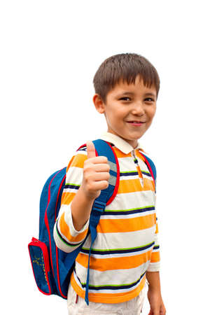 boy with a backpack on his back Stock Photo