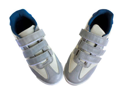 pair of silver shoes, isolate on a white background photo