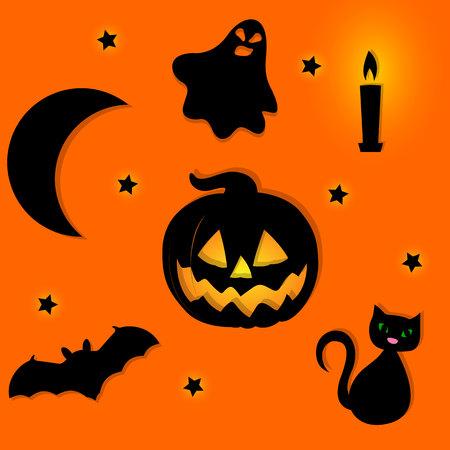 halloween background: Halloween background with halloween silhouettes. Illustration