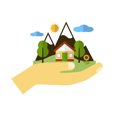 Hand holding house and natural landscape. Illustration