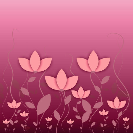 abstract flowers: Pink flowers background vector Pink flowers vector, pink background, flowers background. Pink flowers background. Abstract flowers on pink background. Abstract lilies on pink background. Flat flowers.