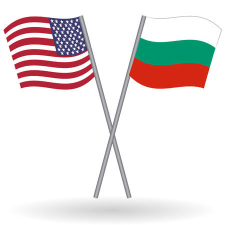 American and bulgarian flags. This flags represents the relationship between Bulgaria and USA in politic, diplomacy, economy, traveling, tourism, immigration, football, translate, language learning...