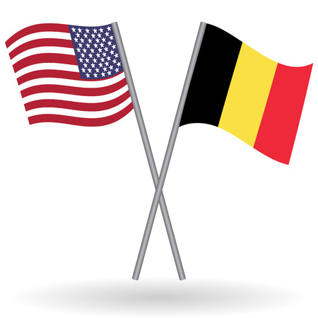 American and belgian flags. This flags represents the relationship between Belgium and USA in politic, diplomacy, economy, traveling, tourism, immigration, football, translate, language learning... Ilustrace