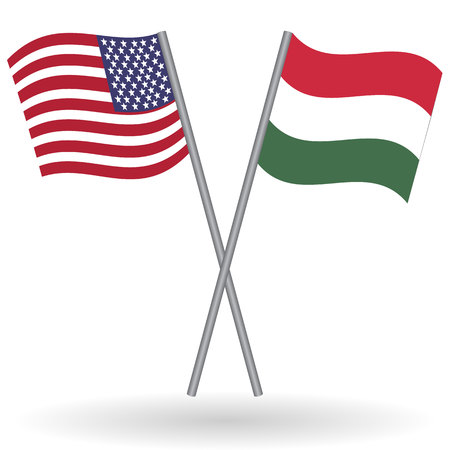 language learning: American and hungarian flags. This flags represent the relationship between Hungary and USA in politic, diplomacy, economy, traveling, tourism, immigration, football, translate, language learning...