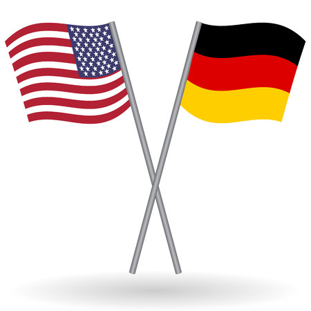 homeland: American and german flags. This flags represents the relationship between Germany and the USA in politic, diplomacy, economy, traveling, tourism, immigration, football, translate, language learning...