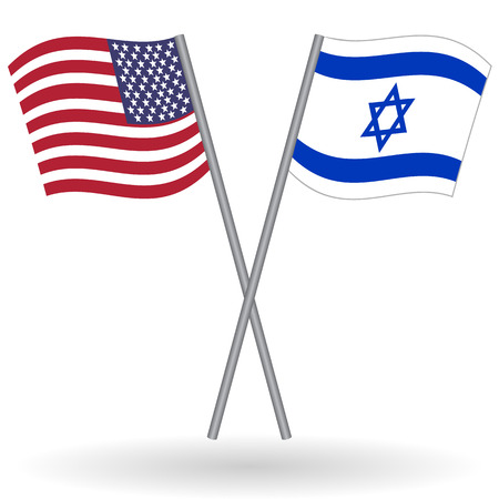 tour operator: American and israeli flags. This flags represent the relationship between Israel and the USA in politic, diplomacy, economy, traveling, tourism, immigration, football, translate, language learning... Illustration
