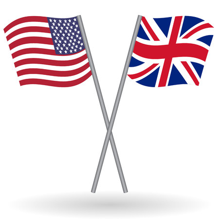 british culture: American and british flags. This flags represent the relationship between United Kingdom and USA in politic, diplomacy, economy, traveling, tourism, immigration, football, translate, language learning