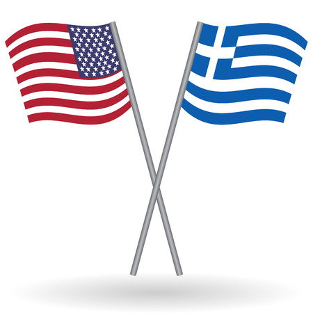 homeland: American and greek flags. This flags represent the relationship between Greece and the USA in politic, diplomacy, economy, traveling, tourism, immigration, football, translate, language learning... Illustration