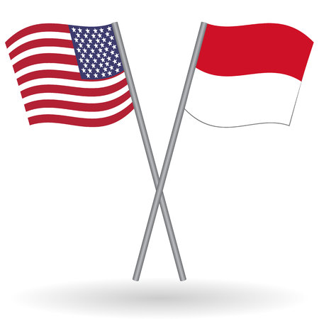 American and indonesian flags. This flags represent the relationship between Indonesia and USA in politic, diplomacy, economy, traveling, tourism, immigration, football, translate, language learning Illustration