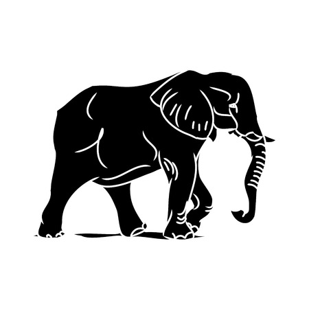 Graphic image of a large elephant. Figure in the form of a black silhouette of a wild animal. Vector, on white background. Illustration