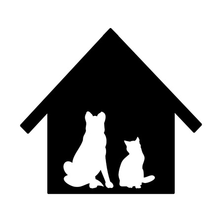 faithfulness: Pets waiting for master. Vector illustration on a white background. Silhouette of cats and dogs against the black house.