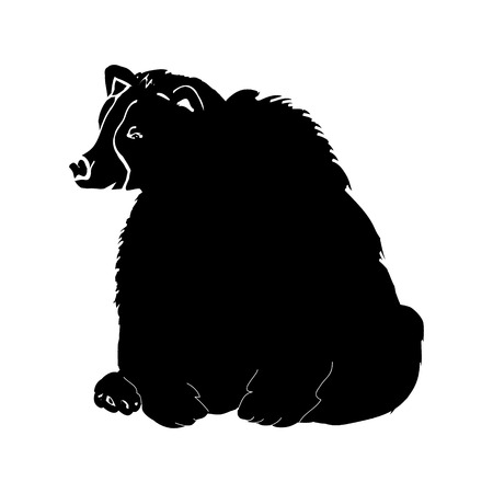 Black silhouette bear on white background