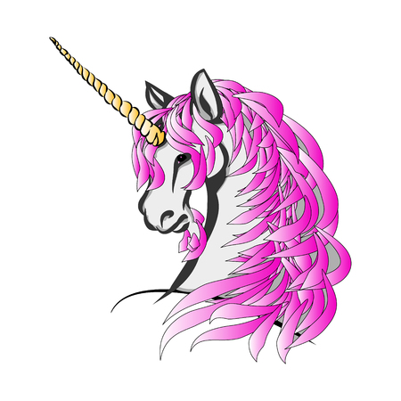 The unicorn with the purple mane on a white background. Head horse with a horn on his forehead.