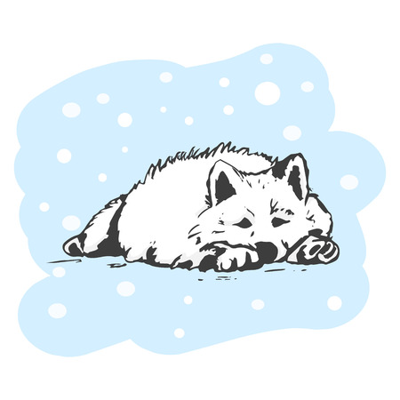 White dog lying in the snow. Winter vector illustration