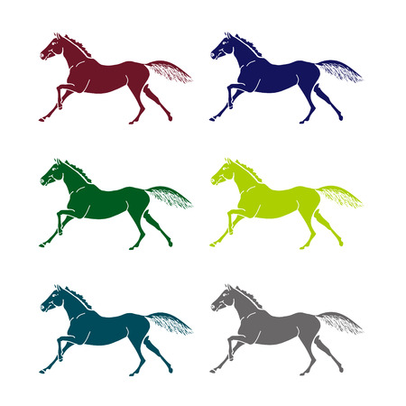 A set of graphic symbols in the form of galloping horses. Vector illustration on a white background. The contours halophilous horses, colored. Illustration