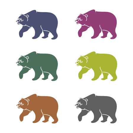 shortcuts: The image of the bear forest wild beast. Animal pattern on a white background, different shortcuts and symbols. Vector illustration (characters in the form of contours of a bear) Illustration