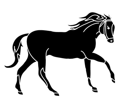 Graphic silhouette of a galloping horse. The drawing of lines, simple sketch. Vector illustration on a white background.