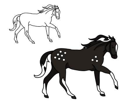 A horse galloping (outline and silhouette)