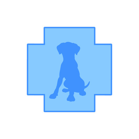 The silhouette of the dog against the blue cross, veterinary clinic logo, vector