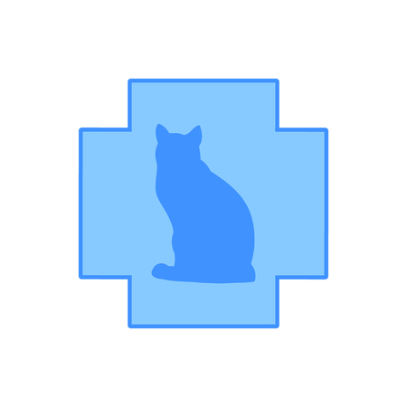 The silhouette of a cat against the blue cross, veterinary clinic logo, vector