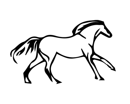 A horse galloping, abstract image of a stallion on a white background, vector illustration