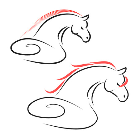 The sign of a horse on a white background from the black lines, abstract image of a stallion, vector illustration