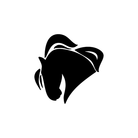 Silhouette of a horses head. Logo riding or equestrian sports, vector Illustration