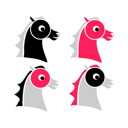 The contour of the horses head. Set of vector illustrations. A childs drawing of the head pony Illustration