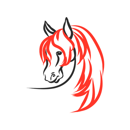 Horse with red mane on a white background. The figures head stallion of the lines. Vector abstract illustration