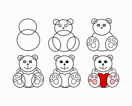 Phased drawing of a bear. Figure plush toy - white bear with heart. The circuit in the form of soft toys, vector illustration
