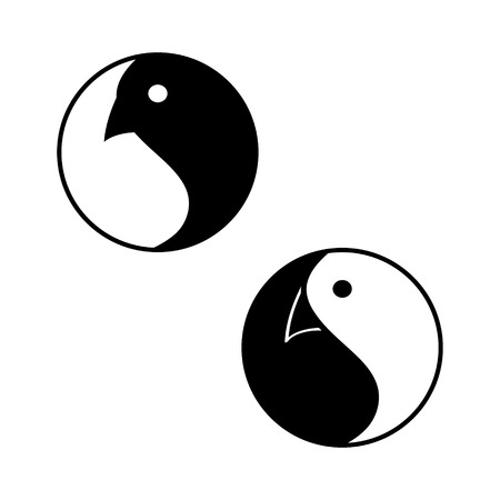 Dao Bird. Round emblem is the symbol of harmony with a bird head. Vector Yin Yang