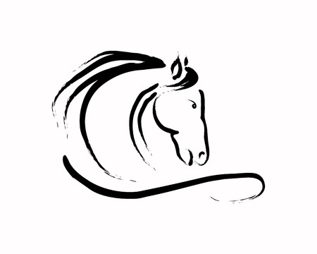 Abstract image of a horse on a white background, the emblem of the horse of lines, vector illustration Illustration