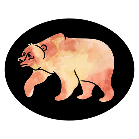 The image of a brown bear on a dark background. Vector illustration in watercolor style. The image of a wild animal, an inhabitant of the forest.