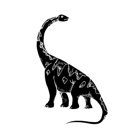 long neck: Graphic image of a dinosaur, the prehistoric animal on white background. Vector illustration, abstract figure of a large lizard with a long neck.