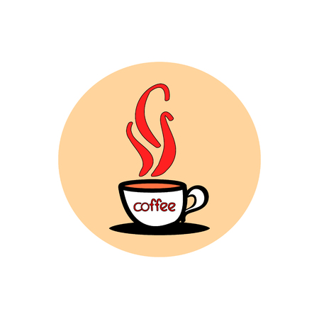 Hot coffee in a white mug. Circular icon on white background. Logo cafe vector illustration