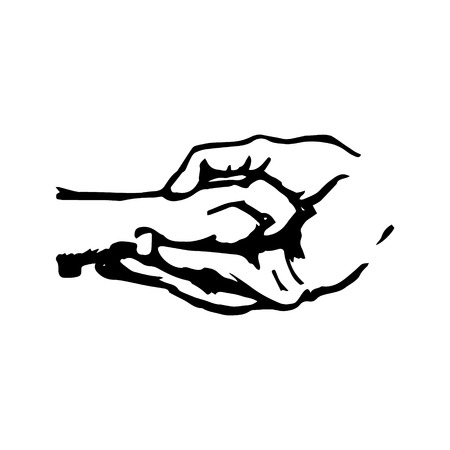 complicity: Dog paw in human hand, abstract illustration on white background. Symbol care pet and care. Vector illustration
