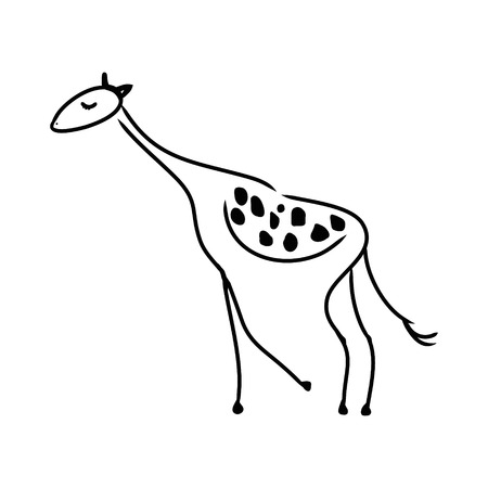 Abstract symbolic giraffe pattern of black lines on white background, vector illustration