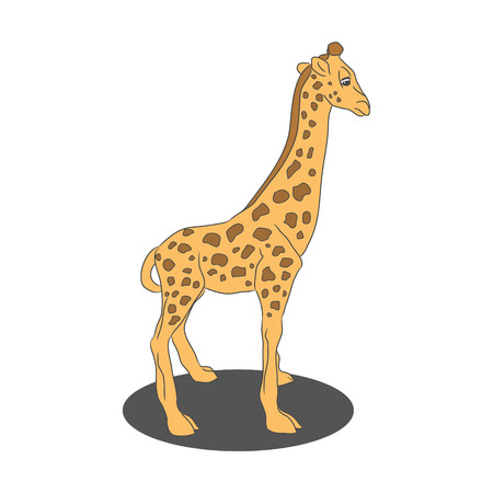 A childs drawing of a little giraffe on white background