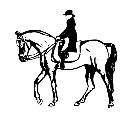Rider walks a horse. Abstract pattern on white background, vector Illustration