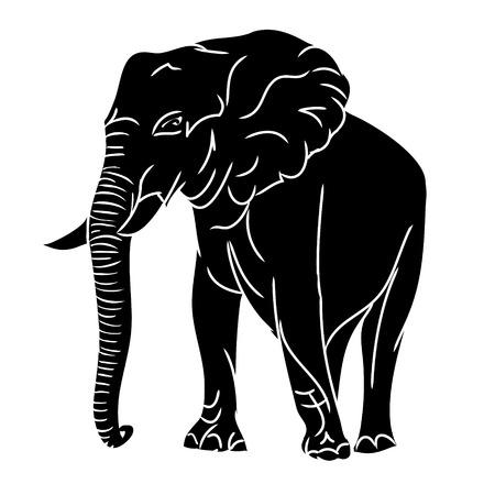 Graficzny obraz dużego słonia. Rysunek w postaci czarnej sylwetki dzikich zwierząt. Wektor, na białym tle.