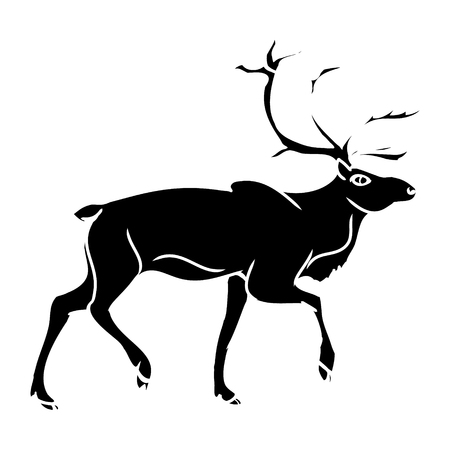 Black deer silhouette on a white background. Abstract illustration, vector