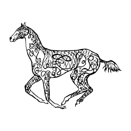 Graphical monochrome image of a galloping horse , drawing in zentagle style.