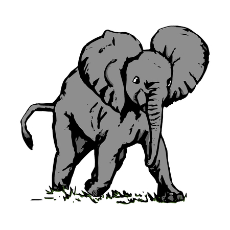 Grey elephant running in the grass, vector on white background Illustration