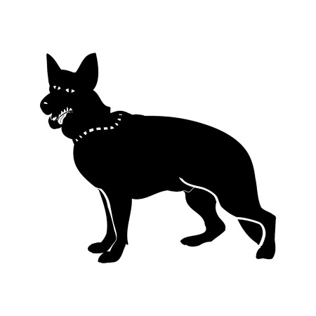 razas de personas: Black silhouette of a German shepherd. Crazy dog on white background, vector illustration Vectores